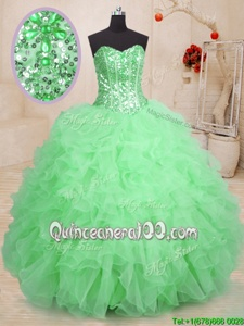 Pretty Green Sweetheart Neckline Beading and Ruffles Sweet 16 Dresses Sleeveless Lace Up