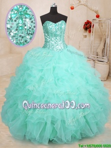 Stylish Sweetheart Sleeveless Quinceanera Dresses Floor Length Beading and Ruffles Apple Green Organza