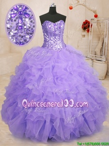 On Sale Organza Sweetheart Sleeveless Lace Up Beading and Ruffles Quinceanera Dresses inLavender