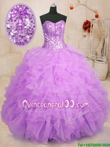 Latest Purple Sleeveless Organza Lace Up Quinceanera Gown forMilitary Ball and Sweet 16 and Quinceanera