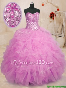 Cute Lilac Ball Gowns Beading and Ruffles Sweet 16 Dress Lace Up Organza Sleeveless Floor Length