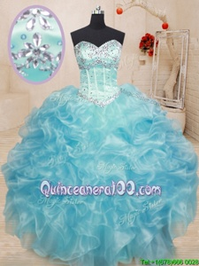 Smart Sweetheart Sleeveless Organza Quinceanera Dress Beading and Ruffles Lace Up