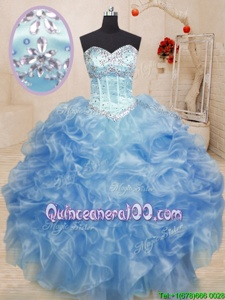 Sweetheart Sleeveless Lace Up 15th Birthday Dress Light Blue Organza
