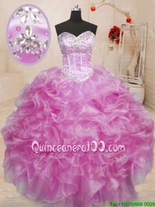 Nice Lilac Sleeveless Floor Length Beading and Ruffles Lace Up Quince Ball Gowns