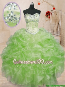 Suitable Spring Green Ball Gowns Beading and Ruffles Quinceanera Dresses Lace Up Organza Sleeveless Floor Length