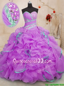 Discount Lilac Organza Lace Up Sweetheart Sleeveless With Train Quinceanera Gowns Brush Train Beading and Ruffles
