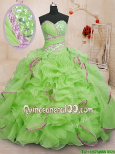 Elegant Spring Green Lace Up 15 Quinceanera Dress Beading and Ruffles Sleeveless With Brush Train