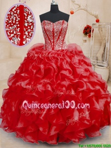 Custom Designed Red Ball Gowns Sweetheart Sleeveless Organza Floor Length Lace Up Beading and Ruffles Quinceanera Gown