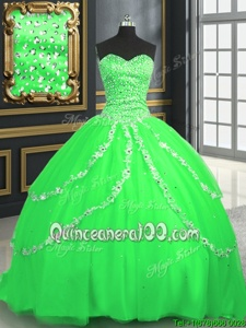 High Quality Spring Green Sleeveless With Train Beading and Appliques Lace Up Ball Gown Prom Dress