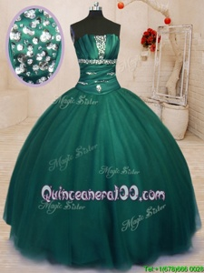 Graceful Strapless Sleeveless Tulle Quince Ball Gowns Beading Lace Up