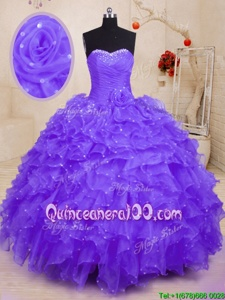Extravagant Spring and Summer and Fall and Winter Organza Sleeveless Floor Length Quince Ball Gowns andBeading and Ruffles and Hand Made Flower