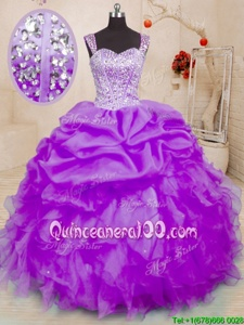 Decent Pick Ups Purple Sleeveless Organza Lace Up Quinceanera Dresses forMilitary Ball and Sweet 16 and Quinceanera