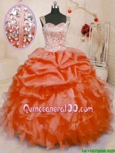 Noble Orange Sleeveless Beading and Ruffles and Pick Ups Floor Length Quinceanera Gowns