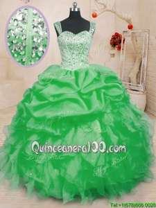Amazing Sleeveless Beading and Ruffles and Pick Ups Lace Up Quinceanera Dresses