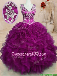 Fantastic Sleeveless Backless Floor Length Beading and Embroidery and Ruffles 15 Quinceanera Dress