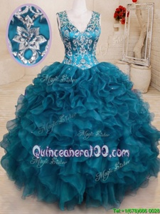 Gorgeous Ball Gowns Sweet 16 Dresses Teal V-neck Organza Sleeveless Floor Length Backless