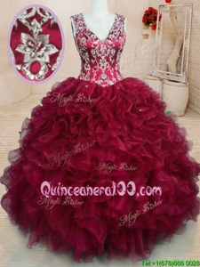 Vintage V-neck Sleeveless Organza Quinceanera Dress Beading and Embroidery and Ruffles Zipper