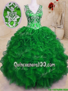 Superior Green Sleeveless Beading and Embroidery and Ruffles Floor Length Vestidos de Quinceanera