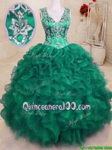 Elegant Floor Length Ball Gowns Sleeveless Dark Green Quinceanera Dresses Zipper