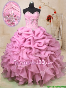 Smart Baby Pink Lace Up Sweetheart Beading and Ruffles and Pick Ups Ball Gown Prom Dress Organza Sleeveless