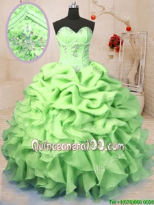 High Class Yellow Green Sweetheart Lace Up Beading and Ruffles and Pick Ups Sweet 16 Dresses Sleeveless