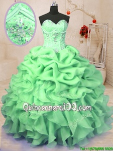 Best Selling Sleeveless Lace Up Floor Length Beading and Ruffles and Pick Ups Sweet 16 Dresses
