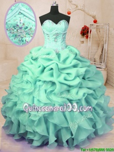 Fashionable Apple Green Sweetheart Neckline Beading and Ruffles and Pick Ups Quinceanera Dresses Sleeveless Lace Up