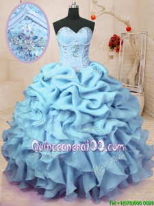 Sophisticated Baby Blue Organza Lace Up Sweetheart Sleeveless Floor Length Ball Gown Prom Dress Beading and Ruffles and Pick Ups