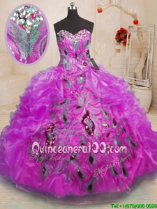 Popular Purple Zipper Sweetheart Beading and Appliques and Ruffles Sweet 16 Dresses Organza Sleeveless