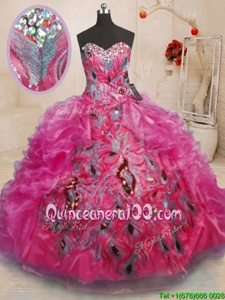 Glorious Sleeveless Organza Floor Length Lace Up 15th Birthday Dress inHot Pink forSpring and Summer and Fall and Winter withBeading and Appliques and Ruffles
