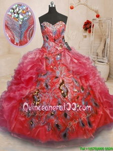 On Sale Floor Length Red Sweet 16 Dresses Sweetheart Sleeveless Zipper