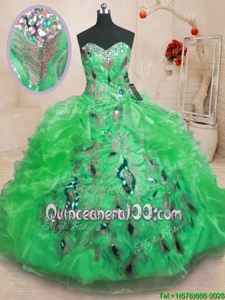 Fantastic Green Sleeveless Organza Zipper 15th Birthday Dress forMilitary Ball and Sweet 16 and Quinceanera