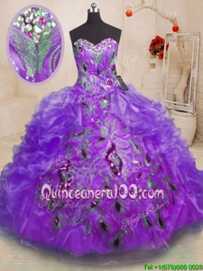 Stylish Purple Ball Gowns Organza Sweetheart Sleeveless Beading and Appliques and Ruffles Floor Length Zipper Quince Ball Gowns