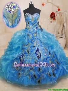 Discount Floor Length Baby Blue Sweet 16 Quinceanera Dress Organza Sleeveless Spring and Summer and Fall and Winter Beading and Appliques and Ruffles
