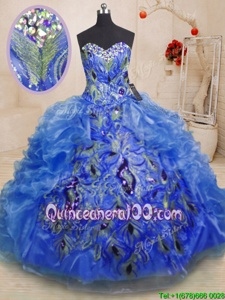 Trendy Blue Sweetheart Zipper Beading and Appliques and Ruffles Vestidos de Quinceanera Sleeveless