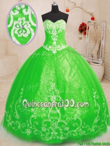 Glittering Floor Length Spring Green Quinceanera Dresses Tulle Sleeveless Spring and Summer and Fall and Winter Beading and Appliques