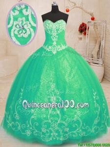 Cute Floor Length Lace Up Quinceanera Gowns Turquoise and In forMilitary Ball and Sweet 16 and Quinceanera withBeading and Embroidery