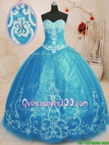 Artistic Floor Length Baby Blue Sweet 16 Dress Tulle Sleeveless Spring and Summer and Fall and Winter Beading and Embroidery