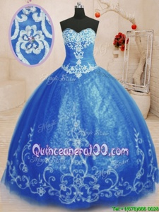 Extravagant Blue Sleeveless Beading and Appliques Floor Length Ball Gown Prom Dress