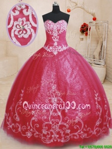 Custom Designed Tulle Sweetheart Sleeveless Lace Up Beading and Embroidery Quinceanera Dresses inRed