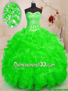 Custom Design Spring and Summer and Fall and Winter Organza Sleeveless Floor Length Sweet 16 Dresses andBeading and Ruffles and Sequins