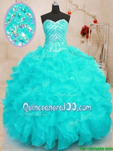 Charming Aqua Blue Organza Lace Up Sweet 16 Quinceanera Dress Sleeveless Floor Length Beading and Ruffles and Sequins