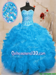 Fitting Beading and Ruffles and Sequins Vestidos de Quinceanera Baby Blue Lace Up Sleeveless Floor Length