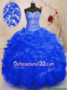 Customized Royal Blue Lace Up Sweet 16 Dress Beading and Ruffles and Sequins Sleeveless Floor Length