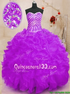 Comfortable Purple Lace Up Sweetheart Beading and Ruffles and Sequins Quinceanera Dress Organza Sleeveless