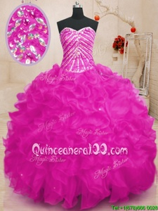 Simple Fuchsia Lace Up Sweetheart Beading and Ruffles and Sequins 15th Birthday Dress Organza Sleeveless