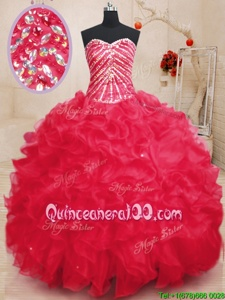 Gorgeous Sequins Floor Length Ball Gowns Sleeveless Coral Red Sweet 16 Quinceanera Dress Lace Up