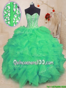 Designer Beading and Ruffles Vestidos de Quinceanera Turquoise Lace Up Sleeveless Floor Length