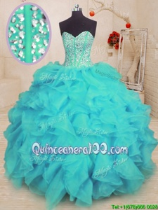 Low Price Aqua Blue Lace Up Quince Ball Gowns Beading and Ruffles Sleeveless Floor Length