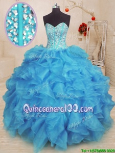 Fantastic Baby Blue Sweetheart Lace Up Beading and Ruffles Sweet 16 Dress Sleeveless